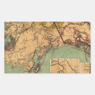 Mapa del carbón y del oro de Alaska Pegatina Rectangular