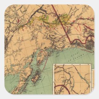 Mapa del carbón y del oro de Alaska Pegatina Cuadrada