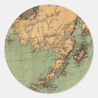 Mapa del carbón y del oro de Alaska Pegatina Redonda