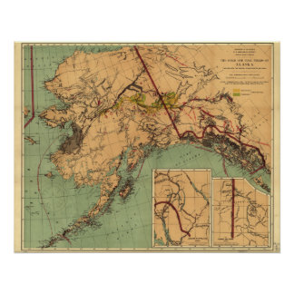 Mapa del carbón y del oro de Alaska Póster