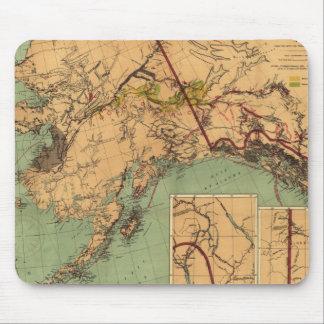 Mapa del carbón y del oro de Alaska Tapete De Ratones