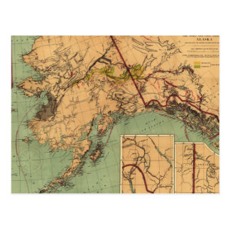 Mapa del carbón y del oro de Alaska Postales