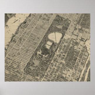 Mapa del Central Park NYC del vintage (1879) Póster