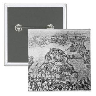 Mapa del cerco de Malta en 1565 Pin Cuadrado