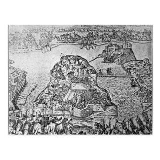 Mapa del cerco de Malta en 1565 Tarjetas Postales