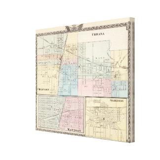 Mapa del chamán, de Urbana, de Mattoon y de Charle Impresion En Lona