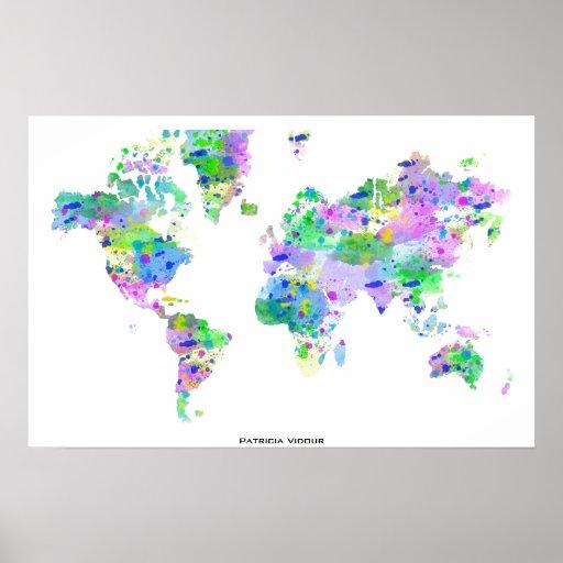 Mapa del chapoteo del planisferio del mundo póster