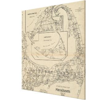 Mapa del ciclista de Cape Cod del vintage (1893) Impresiones En Lona Estiradas