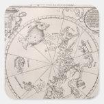 Mapa del cielo meridional pegatina cuadradas personalizada