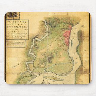 Mapa del cojín de ratón de Philadelphia en 1777