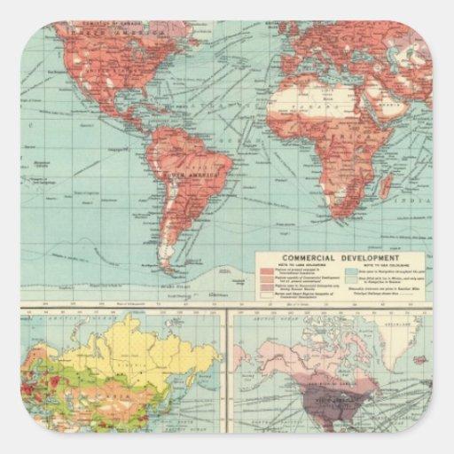 Mapa del comercio del mundo pegatina cuadradas personalizada