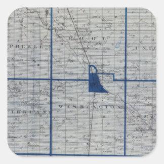 Mapa del condado de Adams Pegatina Cuadrada