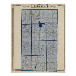 Mapa del condado de Adams Póster