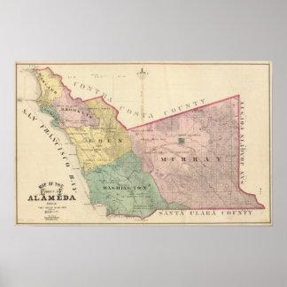 Mapa del condado de Alameda Póster