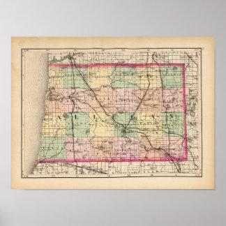 Mapa del condado de Allegan, Michigan Póster
