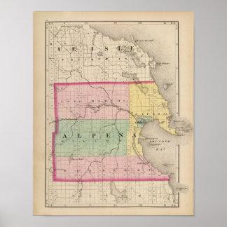 Mapa del condado de Alpena, Michigan Póster