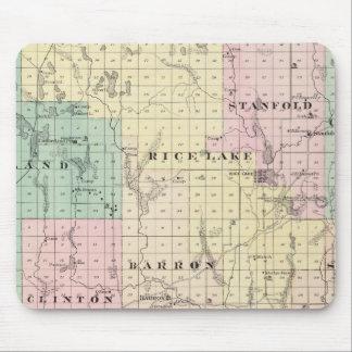 Mapa del condado de Barron, estado de Wisconsin Alfombrilla De Ratones
