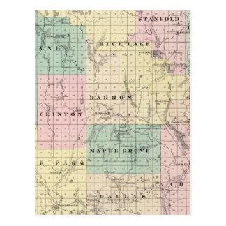 Mapa del condado de Barron, estado de Wisconsin Tarjeta Postal