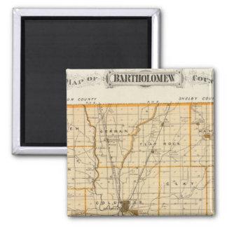 Mapa del condado de Bartholomew Imanes Para Frigoríficos