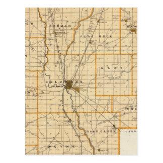 Mapa del condado de Bartholomew Tarjeta Postal