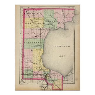 Mapa del condado de Bay, Michigan Poster