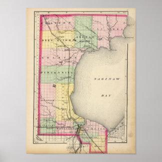 Mapa del condado de Bay, Michigan Póster