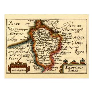 Mapa del condado de Bedfordshire, Inglaterra Tarjetas Postales
