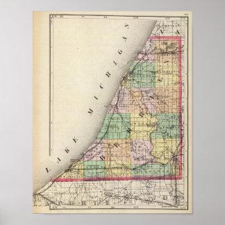 Mapa del condado de Berrien, Michigan Póster
