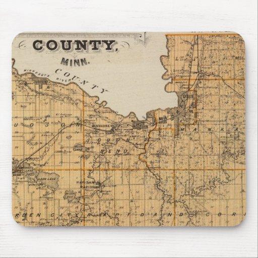 Mapa del condado de Blue Earth, Minnesota Alfombrilla De Ratones