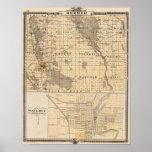 Mapa del condado de Bremer Poster