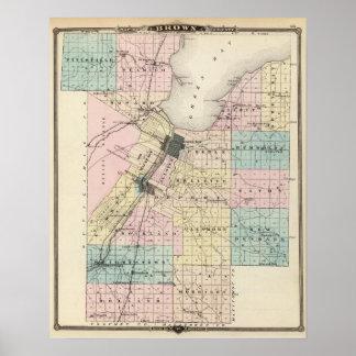 Mapa del condado de Brown, estado de Wisconsin Posters