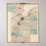 Mapa del condado de Brown, estado de Wisconsin Póster