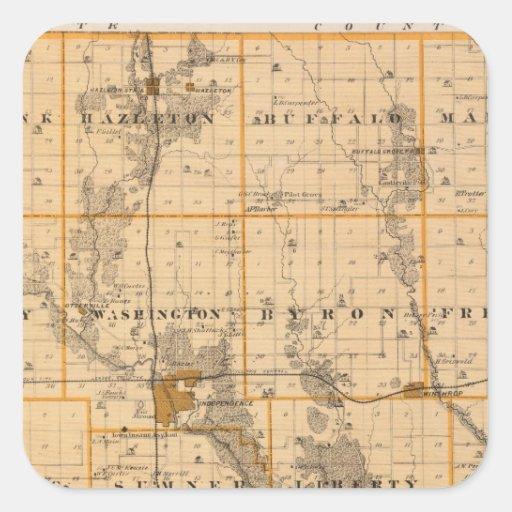 Mapa del condado de Buchanan, estado de Iowa Pegatina Cuadrada