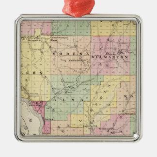 Mapa del condado de Buffalo y del pueblo de Alma Adorno Navideño Cuadrado De Metal
