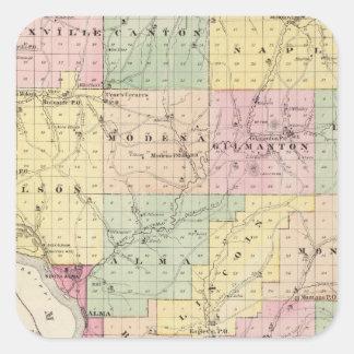 Mapa del condado de Buffalo y del pueblo de Alma Pegatina Cuadrada