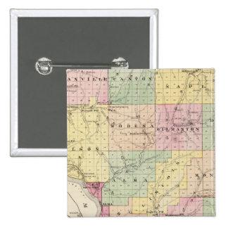 Mapa del condado de Buffalo y del pueblo de Alma Pin Cuadrado