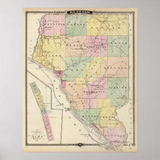 Mapa del condado de Buffalo y del pueblo de Alma Póster