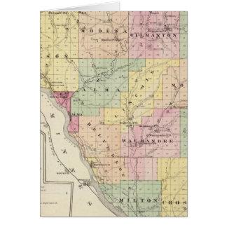 Mapa del condado de Buffalo y del pueblo de Alma Tarjeta De Felicitación