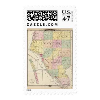 Mapa del condado de Buffalo y del pueblo de Alma Timbres Postales