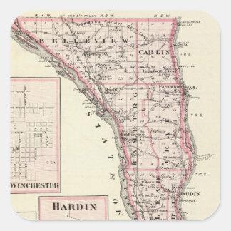 Mapa del condado de Calhoun, Winchester Pegatina Cuadrada