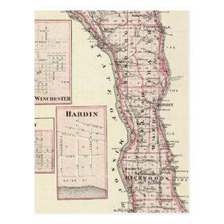 Mapa del condado de Calhoun, Winchester Postales