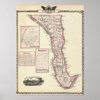 Mapa del condado de Calhoun, Winchester Póster