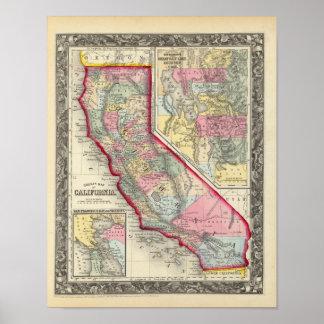 Mapa del condado de California Póster