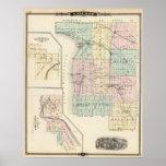 Mapa del condado de Calumet, estado de Wisconsin Posters