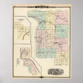 Mapa del condado de Calumet, estado de Wisconsin Póster