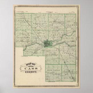 Mapa del condado de Cass Poster