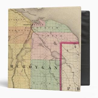 """Mapa del condado de Cheboygan, Michigan Carpeta 1 1/2"""""""