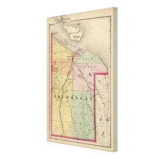 Mapa del condado de Cheboygan, Michigan Impresiones De Lienzo
