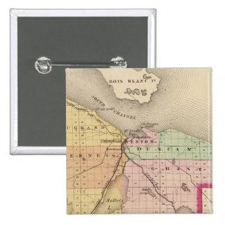 Mapa del condado de Cheboygan, Michigan Pin Cuadrado