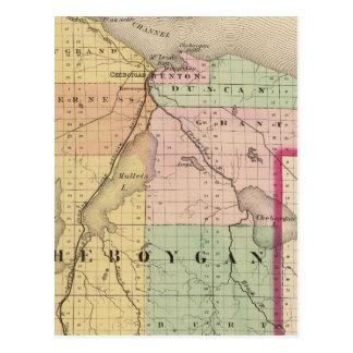 Mapa del condado de Cheboygan, Michigan Postales
